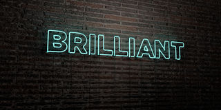 BRILLIANT -Realistic Neon Sign on Brick Wall background - 3D rendered royalty free stock image Royalty Free Stock Image