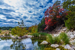 Striking Red Maple Foliage in Texas. Brilliant Red Fall Foliage at Lost Maples State Park in Texas. Striking Cloud and Water Highlights royalty free stock photo