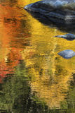 Brilliant reflections of vibrant colors in fall foliage, Canton, Connecticut. Brilliant palette of fall foliage reflections among boulders in the waters of the royalty free stock images