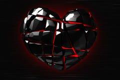 Brilliant ruby on black background. Black Crystal. St. Valentine`s Day 3D rendering Stock Photo