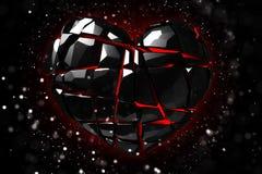Brilliant ruby on black background. Black Crystal. St. Valentine`s Day 3D rendering Stock Images
