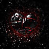 Brilliant ruby on black background. Black Crystal. Royalty Free Stock Photography