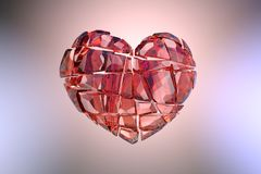 Brilliant ruby on black background. Red Crystal. St. Valentine`s Day 3D rendering Stock Image