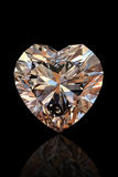 Brilliant shape of heart. Cognac diamond Stock Photography