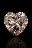 Brilliant shape of heart. Cognac diamond. Brilliant shape of heart  on black background. Cognac diamond Stock Photography