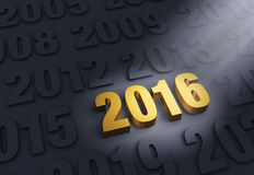 Brilliant 2016. A shining, gold 2016 stands out in a dark field of other years royalty free illustration