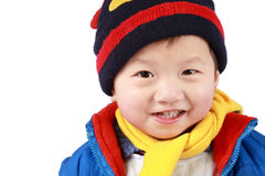 Brilliant smile. A brilliant smile, a chinese little boy with white background Royalty Free Stock Photo