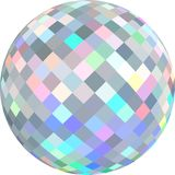 Brilliant sphere 3d white background isolated. Iridescent gleaming glass globe texture. royalty free illustration