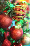 Brilliant spheres on a New Year tree Stock Images