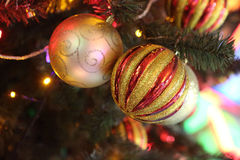Brilliant spheres on a New Year tree Royalty Free Stock Photo