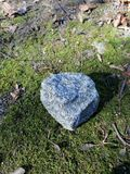 The brilliant structure of the stone on the moss stock photography