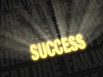 Brilliant Success Erases Failure. Brilliant light rays burst from a glowing, gold SUCCESS on a dark background of FAILUREs Royalty Free Stock Photos