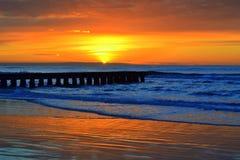 Brilliant sunrise. Awesome sunrise over the seashore of Lido di Jesolo- popular resort near Venice,Italy Stock Images