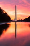 Brilliant sunrise over reflecting pool DC Royalty Free Stock Photo