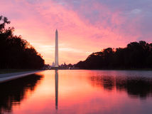 Brilliant sunrise over reflecting pool DC Stock Image
