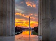 Brilliant Sunrise Over Reflecting Pool DC Stock Photo
