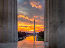 Brilliant sunrise over reflecting pool DC. Bright red and orange sunrise at dawn reflects Washington Monument in new reflecting pool by Lincoln Memorial stock photo
