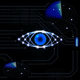Brilliant technological eye HUD on a black background. Neon grid. Printed circuit board. Radar, battery. illustration Royalty Free Stock Images