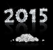 Brilliant text for the new year 2015 with diamonds Stock Photos