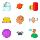 Brilliant thought icons set, cartoon style. Brilliant thought icons set. Cartoon set of 9 brilliant thought vector icons for web isolated on white background Royalty Free Stock Images