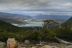 Brilliant view over clear blue lake at torres del paine Royalty Free Stock Photo