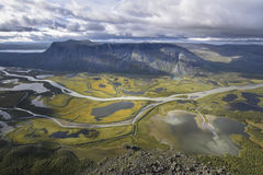 Brilliant view from Skierfe on river valley table mountain Tjakkali, delta landscape. Brilliant view from Skierfe on rapadalen river valley table mountain Stock Photography