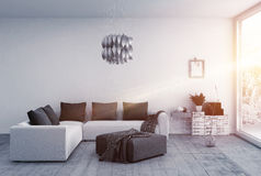 Brilliantly lit room with modern furnishings Royalty Free Stock Images