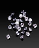 Brilliants. Diamonds on black glossy background Stock Photo