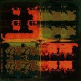 Brillo anaranjado y verde a través de los ladrillos de cristal ilustración del vector
