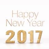Brillo chispeante de oro de la Feliz Año Nuevo 2017 en el roo blanco del estudio Foto de archivo