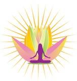 Brillo de la yoga y logotipo rosado de la flor de loto Fotos de archivo libres de regalías