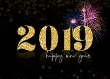 Brillo de oro 2019 fuegos artificiales de la Feliz Año Nuevo ilustración del vector