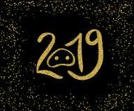 Brillo del oro de la caligrafía de la mano de la Feliz Año Nuevo 2019 libre illustration