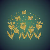Brillo del oro de la joyería de la flor del corazón del amor Foto de archivo