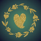 Brillo del oro de la joyería de la flor del corazón del amor Fotografía de archivo