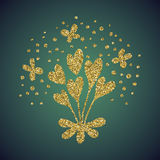 Brillo del oro de la joyería de la flor del corazón del amor Fotografía de archivo libre de regalías