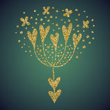 Brillo del oro de la joyería de la flor del corazón del amor Foto de archivo libre de regalías