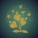 Brillo del oro de la joyería de la flor del corazón del amor Imagen de archivo libre de regalías