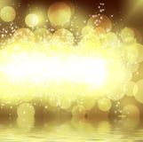 Brillo del oro en un fondo oscuro ilustración del vector