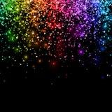 Brillo descendente multicolor en fondo negro Vector stock de ilustración