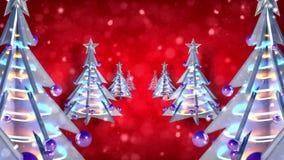 Brillo rojo del lazo del árbol de Navidad de la decoración de la Navidad almacen de metraje de vídeo