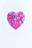 Brillo y estrella del corazón en el fondo blanco Imagenes de archivo