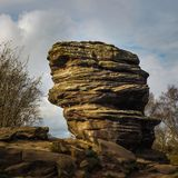 Eroded Millstone tower at Brimham Rocks. Brimham Rocks is an amazing collection of , Millstone Grit, natural rock formations located in North Yorkshire Stock Image