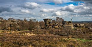 Strange formations at Brimham Rocks. Brimham Rocks is an amazing collection of , Millstone Grit, natural rock formations located in North Yorkshire Stock Photography