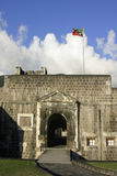 Brimstone Hill Entrance. Taken at the upper level of the fort and showing the national flag of st. kitts and Nevis Stock Image