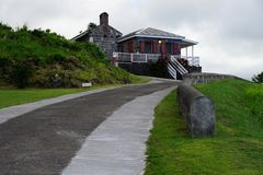 Brimstone Hill Fortress, access road and horn sign, St. Kitts Island Stock Images