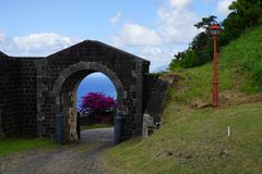 Brimstone Hill Fortress entrance gate and road, St. Kitts Island Stock Photo