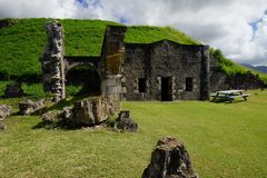 Brimstone Hill Fortress National Park, ruins detail in a bright sunshine, Saint Kitts and Nevis.  Royalty Free Stock Image
