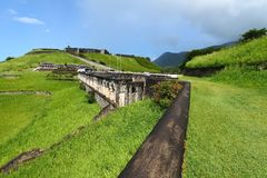 Brimstone Hill Fortress - St Kitts. The walls of Brimstone Hill Fortress on the Caribbean island of St Kitts Stock Image