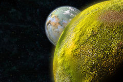 Brimstone Moon. This image shows a brimstone moon with terrestrial planet vector illustration